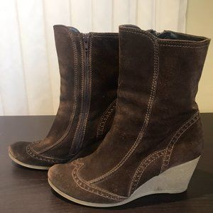 Made in Italy Suade Wedge Boots